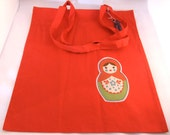 Russian doll cotton shopper bag - Red
