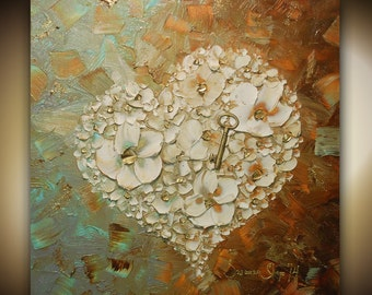 ORIGINAL Heart Key Painting Abstract Thick Texture Flowers Art White Contemporary Gallery Fine Art by Susanna Ready to Hang Canvas 24x24