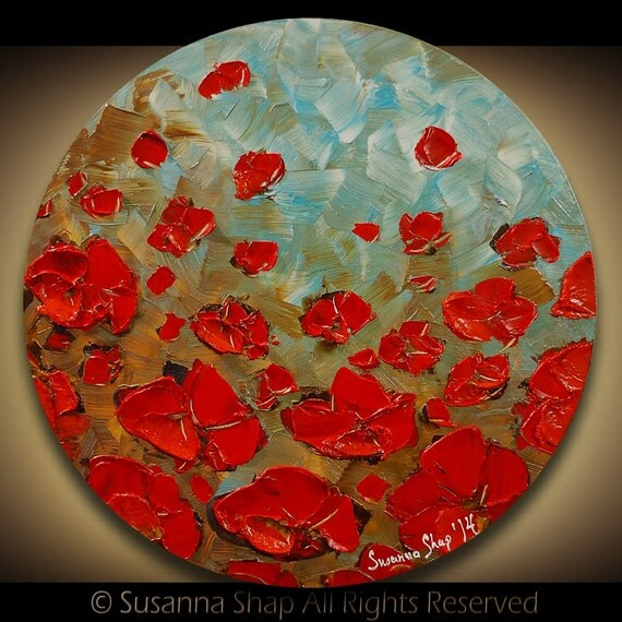 Original Abstract Contemporary Fine Art Impasto Landscape Modern Palette Knife Oil Painting- White Red Poppies by Susanna 20x20