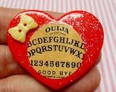 Ouija Board - Polymer Clay Glitter Heart Brooch or Necklace