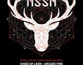 Live 105 NSSN 2013 Silk Screen Poster Deer Arcade Fire Kings of Leon QOTSA Arctic Monkeys - Etsy