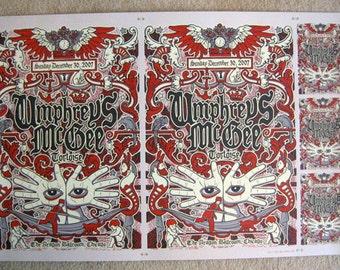 Umphrey's McGee UNCUT Rare New Years Eve Silk Screen Poster Handbills Tortoise - Etsy