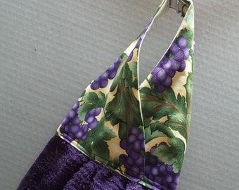 Hanging Dish Towel Purple Grapes Fabric