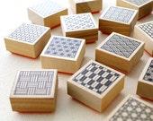 10 pcs - Rubber stamp of a traditional Japanese design – Square form – karaku original stamp