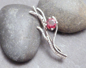 Sterling Garnet Ear Sweeps Pair - BRANCH AND BERRY  - Silver 925 Handcrafted Ear Sweep Vine Earrings