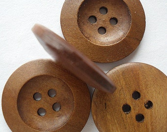 """Big Wooden Buttons (B5) FIVE 1 1/8"""" Large Round // Crafts Sewing Brown Natural Wooden Craft Button Knitting Crochet Supplies"""