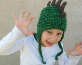 Crochet Dragon Hat in Forest Green - Dino Hat for Boys, Costume Hat, Rawr, Dinosaur