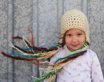 Ready to Ship - Last Minute Gift - Rapunzel Hat in Latte - Princess Hat, Toddler Hat, Girl's Winter Hat