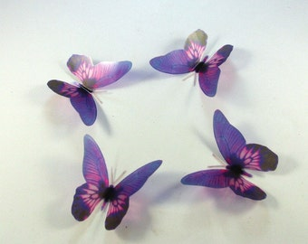 5 Violet Stick on Butterflies, Wedding Cake Toppers, 3D Wall Art, Scrapbooking, UNGLITTERED