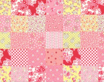 HALF YARD Lecien - Old New 30s Spring 2014 Collection  - 30885-20 Pink and Yellow Cheater Blocks- Japanese Import