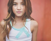girls tank top- baby top- tank top- summer top- spring outfit- white- blue- tween clothing- easter clothing-boho kids clothing