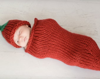 I'm A Pepper Chili Pepper Cocoon and Newborn Hat knitting PATTERN - PDF format