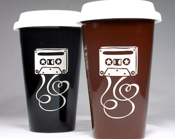 SALE - Cassette Mixtape Travel Mug - insulated lidded coffee cup