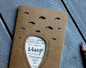 """Art journal with Haiku poem illustration - notebook with cut out eyes - gift for writer or poet. """"Mis-spent Sleep"""""""