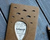Journal with Haiku poem - kraft brown art notebook with cut out eyes - Mis-spent Sleep