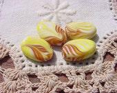 Bananas Foster Caramel Swirls Vintage Glass Beads
