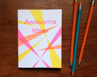 Awesome Ideas, letterpress 80s notebook, pink and orange
