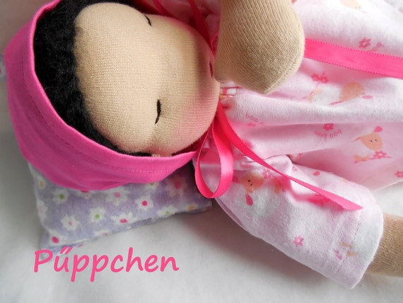 germandolls Baby in Lamb Pajamas - Waldorf Doll - 12 inch German Doll Baby -