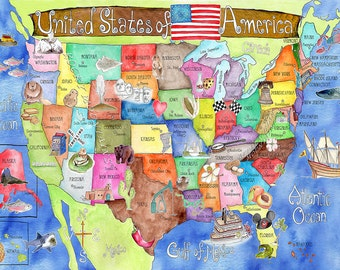 USA Map for kids 18 x 24 inch BLUE watercolor art nursery poster by Marley Ungaro