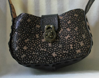 Hand Tooled Black / Brown Leather Handbag - STEAM PUNK GEARS