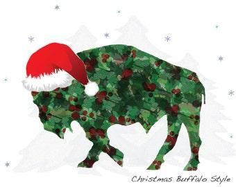 Buffalo Christmas Cards - Holly Buffalo in Santa Hat  -  Blank Christmas Note Cards - SET of 2 - Buffalo Art - Buffalo Gift