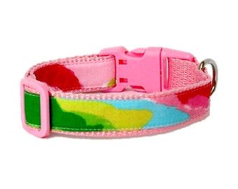 Dog Collar Made from Lilly Pulitzer Hotty Pink First Impression Fabric Size: Your Choice