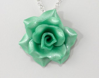 Light Green Rose Pendant Necklace - Simple Rose Necklace - Handmade Wedding Jewelry - Polymer Clay Rose Pendant - #254 - Ready to Ship