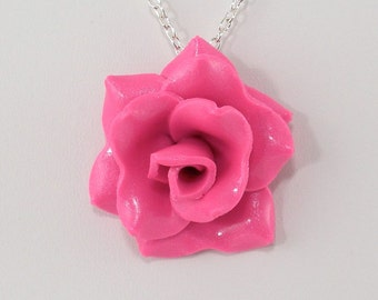 Candy Pink Rose Pendant - Simple Rose Necklace - Hot Pink Rose Necklace - Handmade Wedding Jewelry - Polymer Clay Rose Pendant - #290