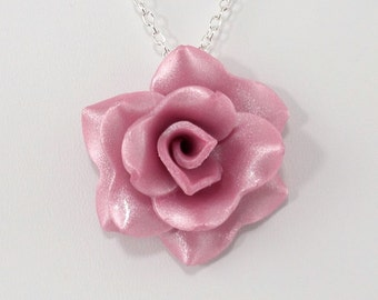Pastel Fuchsia Rose Pendant Necklace- Simple Rose Necklace - Handmade Bridesmaid, Wedding Jewelry - Polymer Clay Rose - #247 Ready to Ship