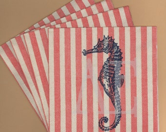 PN021 Set of 4 Paper Napkins by C. R. Gibson ~ 5x5 Fabulous Nautical Style Antique Seahorse & Red Stripes Summer Seashore Sea Creature