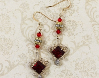 Vintage Upcycled Red Crystal Golden Dangling Rhinestone 14k Gold Fill Earrings