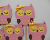 Owl Cupcake Toppers - Pink, Yellow, Brown - Girl Birthday Party Decorations - Girl Baby Shower Decorations - Set of 6