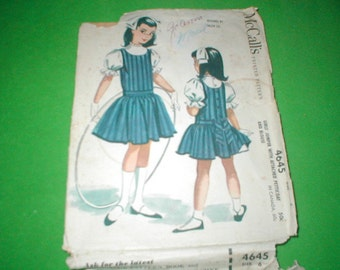 Vintage pattern McCalls 4645 Girls jumper with attached petticoat