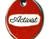 Activist Ceramic Necklace in Deep Red