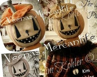 Primitive Pumpkin Doll Pattern Squashworths INSTANT Download Digital PDF E Patterns Vintage Style Halloween Veenas Mercantile Kim Kohler