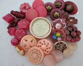 30 Vintage and Modern Sewing Buttons - Collection of Shades of Pink Fancy Shank Sewing Buttons