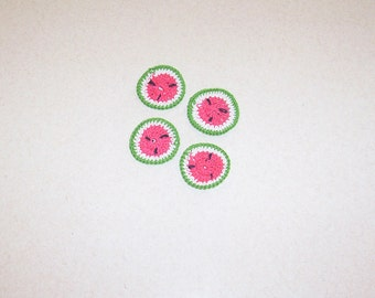 Crochet Watermelon Appliques Set of 4