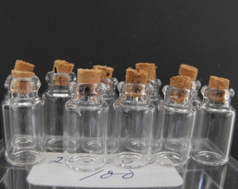 """Miniature Glass Bottles or Vials, with Corks, Lot of 10, 20mm or 7/8"""" tall,12mm base NT-1410"""