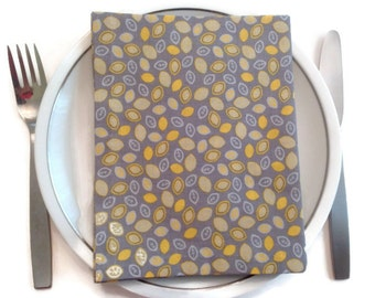 Dinner Napkins  Set of 4 Cloth Napkins Eco Friendly 100% Cotton Dinner Napkins Grey Yellow