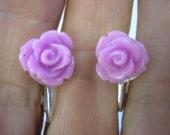 "Play Earring - Clip or Pierced - Rosebud - Lilac - 3/8"""