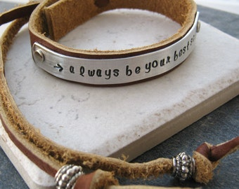 Always Be Your Best Self Bracelet, Adjustable Leather Cuff 1/2 inch wide, customize up to 25 characters, inspiration, encouragement