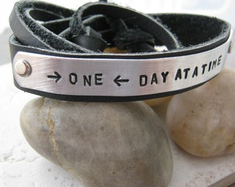 One Day At A Time Bracelet, Adjustable Leather Cuff 1/2 inch wide, customize up to 25 characters, inspiration, encouragement, sobriety