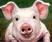Pig Art Print of Original Painting by Dottie Dracos, Piglet Portrait on Green, Various Sizes