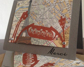 Merci - 6-Pack Paris Map Thank You Screen-Printed Cards