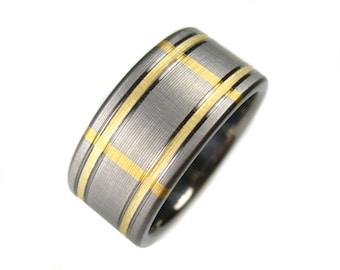 Titanium Wedding Band Plaid Yellow Gold 14K