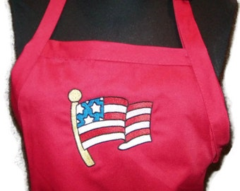 """American Flag BBQ Apron Embroidered for Home or Grill 34"""" Full Length Embroidery Stitched Red - Ready to Ship"""