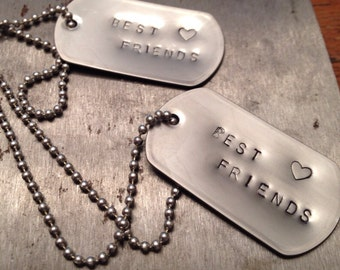 Trendy pair of industrial best friend dog tag necklaces FREE shipping