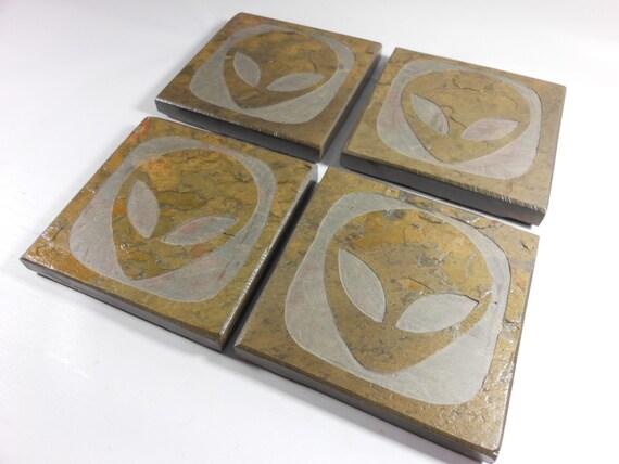 Slate stone coasters alien handmade by blythhousecreations