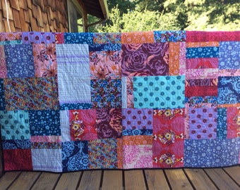 """Custom Patchwork Throw Quilt. Large Blanket, Bedding. 72 X 54"""" In Your Chosen Color Theme, Professionally Quilted"""
