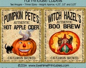 Instant Download - Printable Farmhouse Labels - Pumpkin Pete Cider Witch Hazel Boo Brew - Digital PDF or JPG File